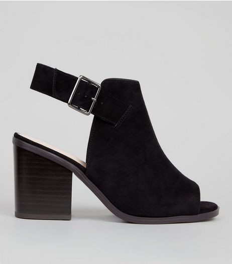 Wide Fit Black Comfort Suedette Peep Toe Heels | New Look
