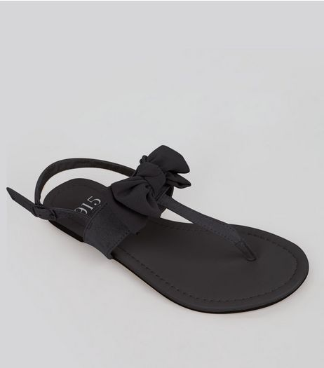 Teens Black Suedette Bow Front Sandals | New Look