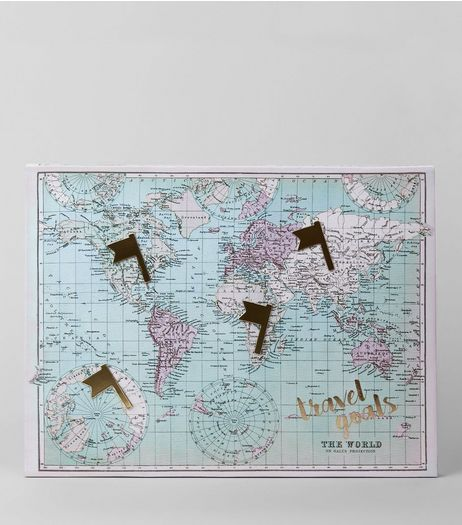 Pale Blue World Map Canvas | New Look