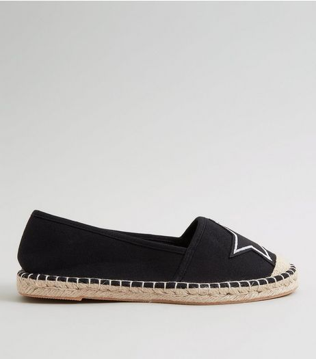 Teens Black Canvas Star Badge Espadrilles | New Look