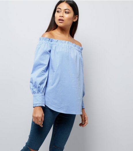 Petite Blue Stripe Frill Trim Bardot Neck Top | New Look