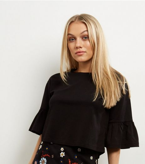 Black Frill Trim Bell Sleeve Top  | New Look