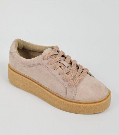 Teens Stone Suedette Gum Sole Creepers | New Look
