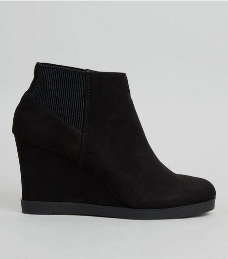 Teens Black Suedette Ribbed Panel Wedge Heel Ankle Boots | New Look