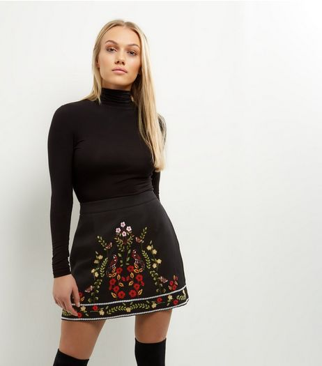 Petite Black Floral Bird Embroidered A-Line Mini Skirt | New Look