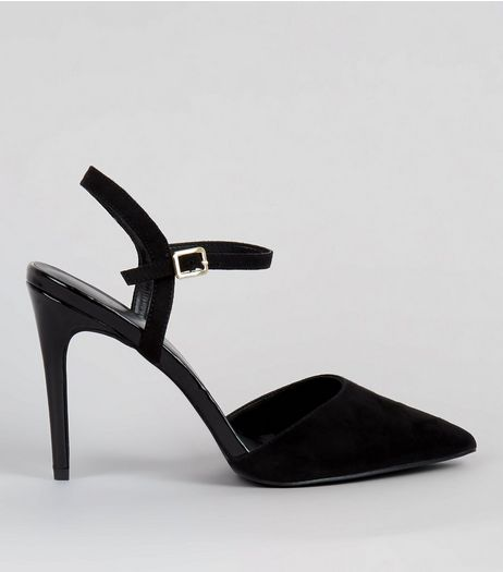 Black Ankle Strap Pointed Court Shoes | New Look