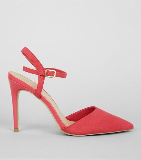 Mid Pink Suedette Pointed Ankle Strap Heels | New Look