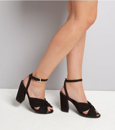 Wide Fit Black Suedette Knot Front Flared Heel Sandals | New Look