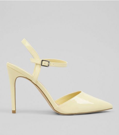 Yellow Patent Pointed Toe Court Shoes | New Look