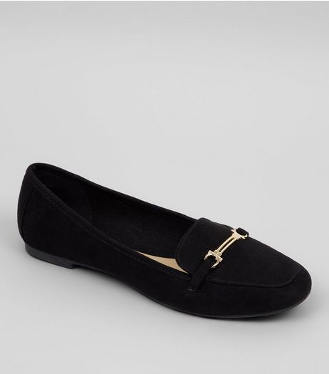 Teens Black Suedette Metal Bar School Loafers | New Look