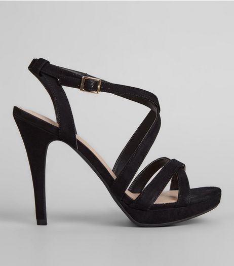 Black Comfort Suedette Multi Strap Heels | New Look
