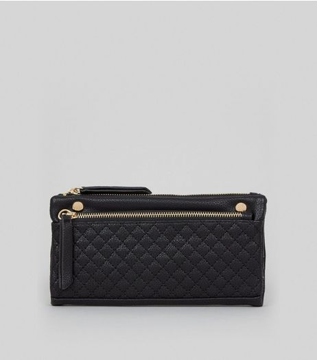 Black Quilted Slouchy Pocket Front Purse | New Look