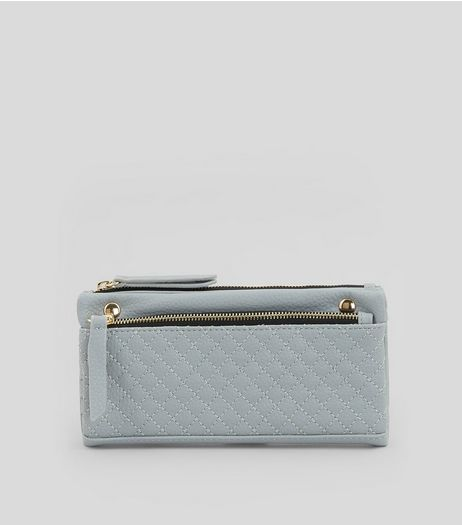 Pale Blue Quilted Slouchy Pocket Front Purse | New Look