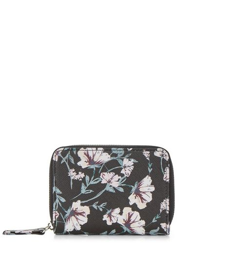 Black Floral Print Card Holder | New Look