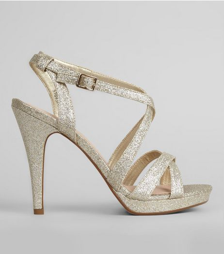 Gold Comfort Cross Strap Front Heels | New Look