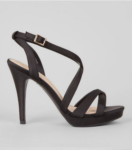 Black Comfort Sateen Cross Strap Heels | New Look
