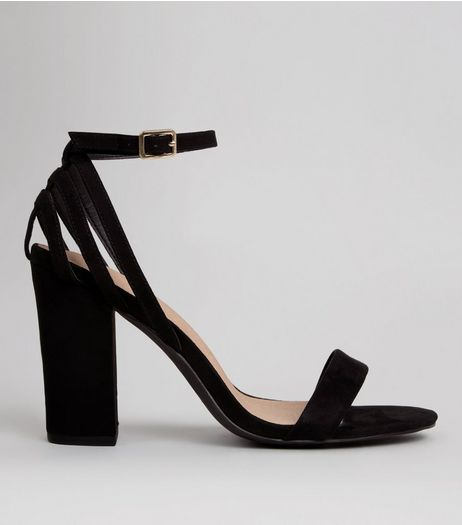 Black Comfort Strappy Back Block Heels | New Look