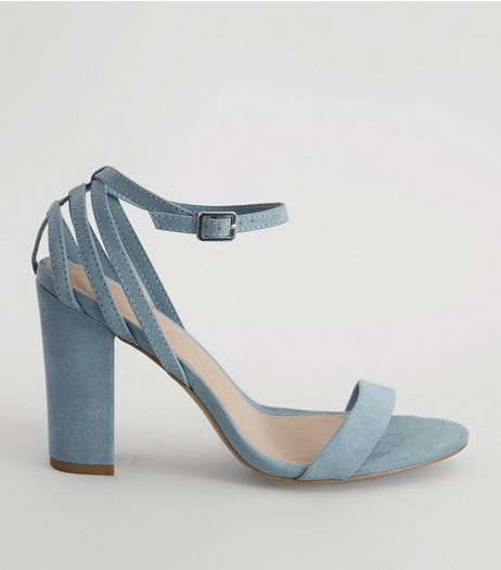 Blue Comfort Triple Strap Back Block Heels | New Look