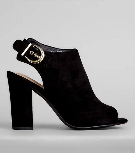 Black Comfort Sling Back Buckle Strap Heels | New Look