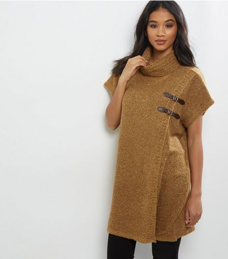 QED Camel Cowl Neck Buckle Front Poncho  | New Look