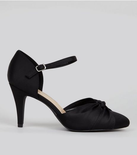 Wide Fit Black Satin Knot Front Court Shoes | New Look
