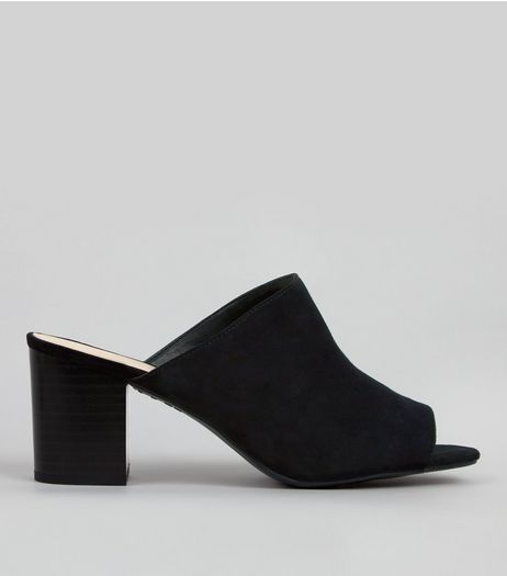 Black Suedette Heeled Mules | New Look