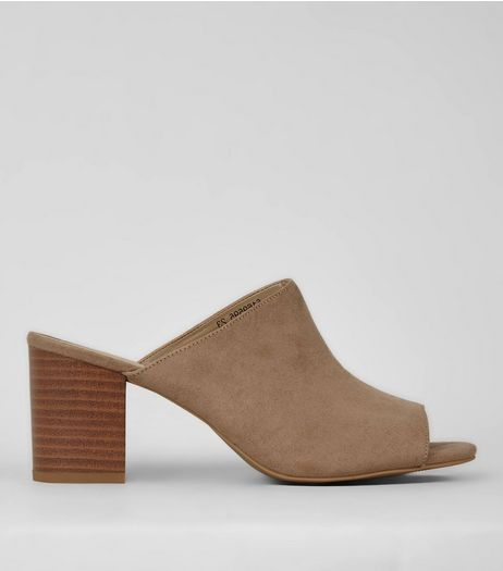 Mink Suedette Peep Toe Mules | New Look