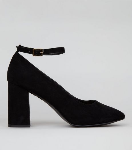 Wide Fit Black Comfort Suedette Flared Heel Court Shoes | New Look