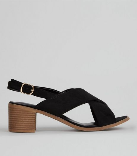 Black Suedette Cross Strap Block Heels | New Look