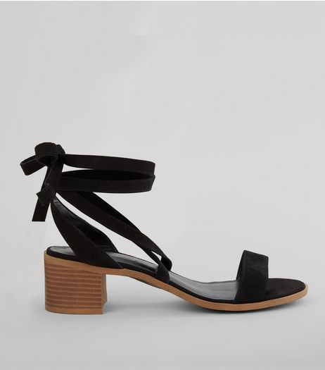 Black Suede Tie Up Mini Block Heels | New Look