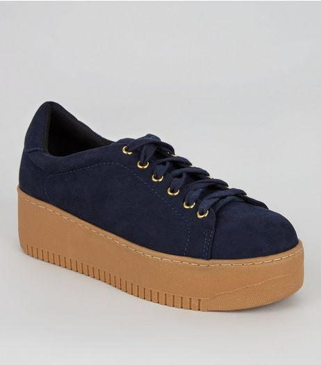 Navy Suedette Chunky Contrast Sole Trainers | New Look