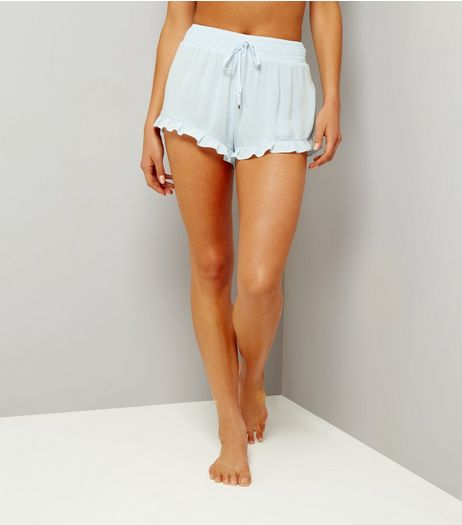 Pale Blue Frill Hem Beach Shorts | New Look