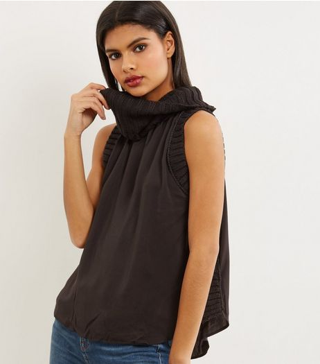 Apricot Black Turtle Neck Sleeveless Jumper  | New Look