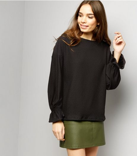 Black Jacquard Textures Flared Cuff Long Sleeve Top | New Look