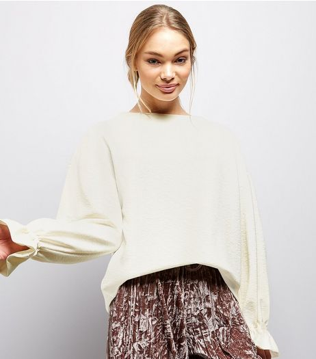 Cream Elasticated Cuff Long Sleeve Top  | New Look