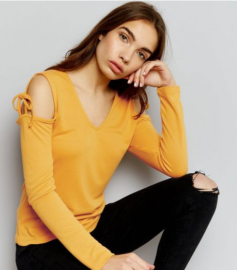 Yellow V Neck Tie Cold Shoulder Long Sleeve Top | New Look