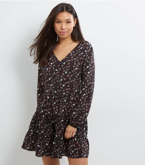 Apricot Black Butterfly Print Long Sleeve Dress | New Look