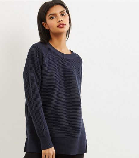 Apricot Navy Ribbed Zip Trim Longline Jumper  | New Look