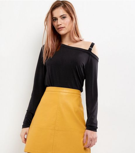 Black Buckle Trim Cut Out Top  | New Look