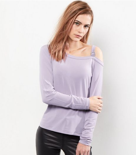 Lilac Buckle Trim Cut Out Top  | New Look