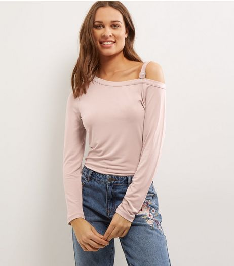 Mid Pink Buckle Trim Cut Out Shoulder Top  | New Look