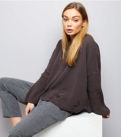 Dark Grey Ladder Ripped Crew Neck Boxy Jumper  | New Look