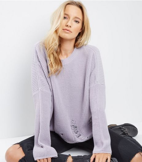 Lilac Ladder Ripped Crew Neck Boxy Jumper  | New Look