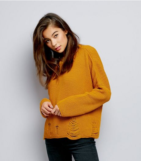 Yellow Ladder Ripped Crew Neck Boxy Jumper | New Look