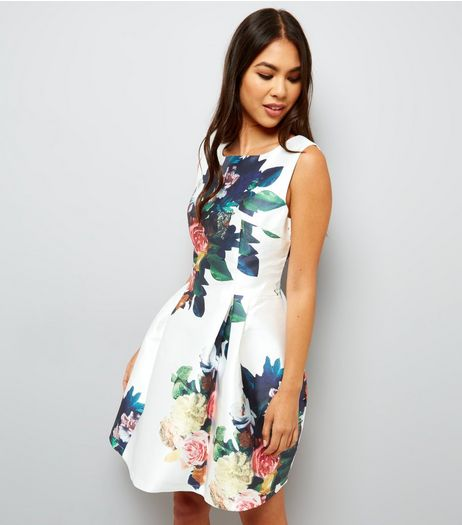 Blue Vanilla White Floral Print Skater Dress  | New Look