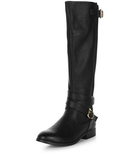 Black Buckle Strap Knee High Boots | New Look