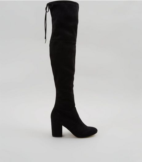 Black Suedette Tie Back Over The Knee Heeled Boots | New Look