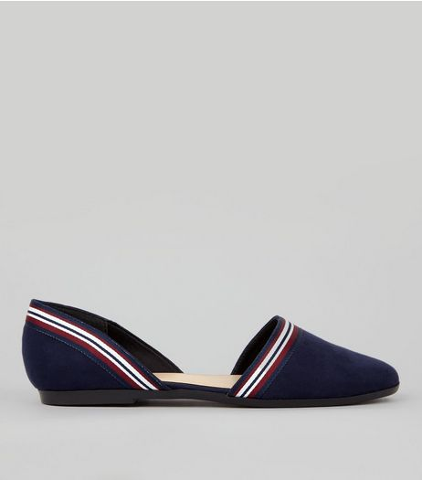 Navy Suedette Contrast Stripe Cut Out Side Pumps | New Look
