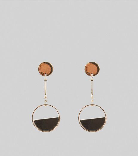 Black Half Circle Drop Earrings | New Look