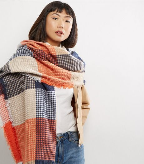 Blue Contrast Colour Block Frayed Scarf | New Look